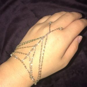 Beaded Hand Chain Ring/Adjustable Bracelet